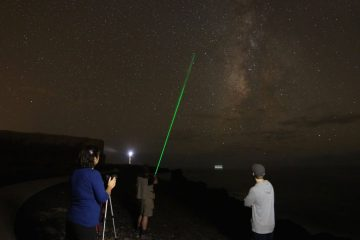 Group of amateurs photographying the Milky Way in summer as part of the international AstroMaster La Palma workshop