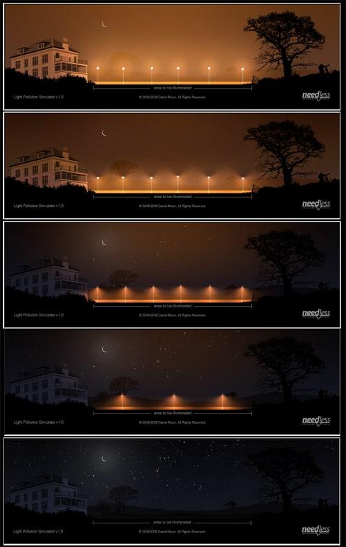 Foto de simulación de contaminación lumínica