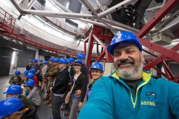 Visitors of the Gran Telescopio de Canarias (GTC) inside the telescope, La Palma