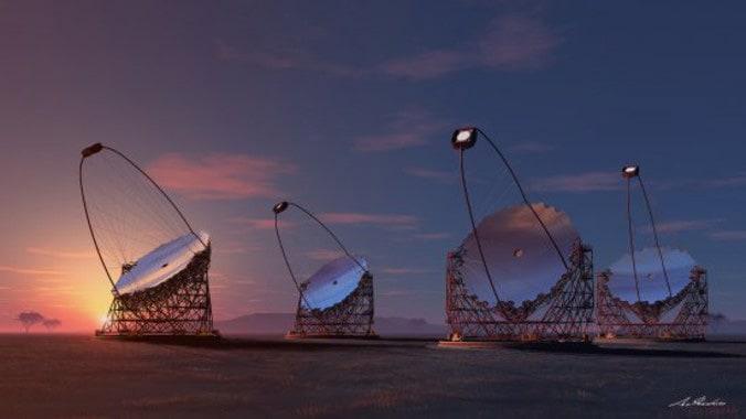 Foto: Die Rekonstruktion der zukünftigen Teleskopen CTA IEEEC, Quelle: cta-observatory.org
