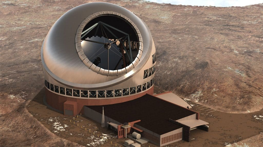 Das Thirty Meter Telescope,  Computergenerierte Illustration. Quelle: wikipedia