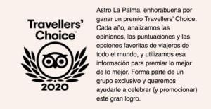 Travellers' Choice 2020 en Tripadvisor