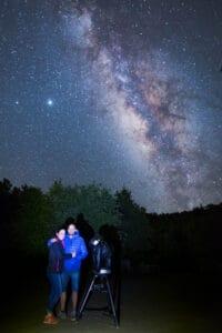 Júpiter, Saturno y Vía Láctea. Maravilloso cielo estrellado de La Palma