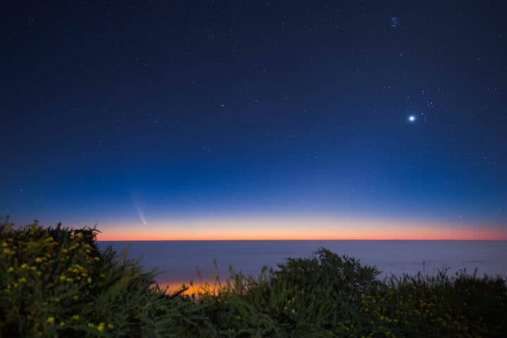 Comet Neowise at sunrise seen from La Palma high above the clouds