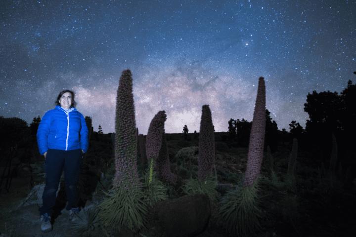 Tajinaste flowers with Milky Way as background. Starry sky, La Palma