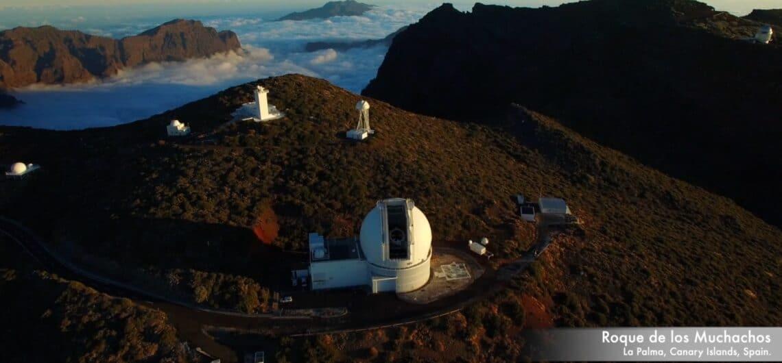 Vista aérea del Observatorio del Roque de Los Muchachos en La Palma