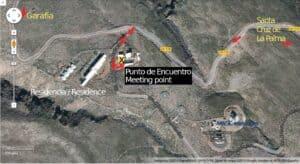 Mapa punto de encuentro visitas al Observatorio Roque de Los Muchachos en La Palma